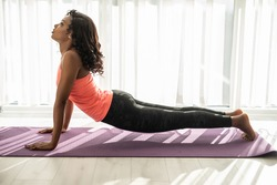 Improving stamina. Woman improving her stamina while standing in plank in the morning at home