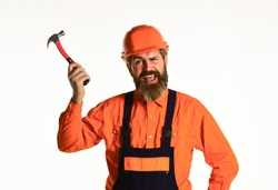 Impulse for changes. Essential tips for using hammer correctly. Requirements for projects. Professional master repair roof. Technical work. Bearded mature man in uniform. Guy with hammer. Good hammer.