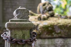 In a cemetery or cemetery, there is a skull with moss on a gravestone and an Rusty steel chain.