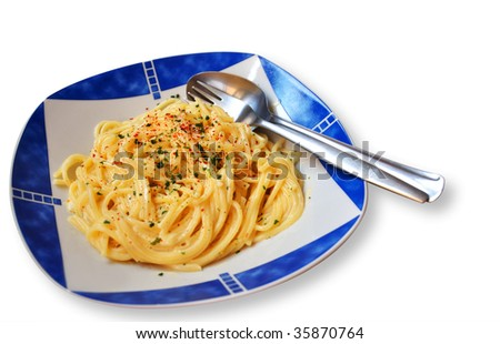 in a dish are some spagetti noodles, a spoon and a fork a lying beside - stock photo