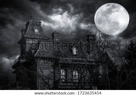 In a stormy weather. Old american type wooden house. Horror house Foto d'archivio ©
