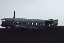 In 1973 a United States Navy DC plane ran out of fuel and crashed on the black beach at Sólheimasandur, in the South Coast of Iceland. Fortunately, everyone in that plane survived