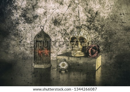 In a vanitas still life symbolism plays an important role. Items such as a skull, a candle, decayed books, fruits, soap bubbles, smoke, clocks, musical instruments and hourglasses are symbols of the t #1344266087