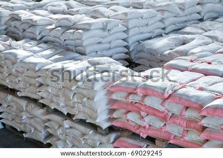 In a warehouse in bags rice, groats and a flour is prepared for sending to the consumer.