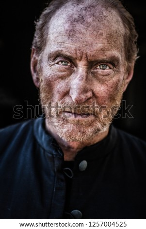 In a wood 5 miles outside Tring, Hertfordshire, England - 05 01 2013: A portrait of the actor Charles Dance whilst on the set of Instruments of Darkness, a dramatisation of Macbeth #1257004525