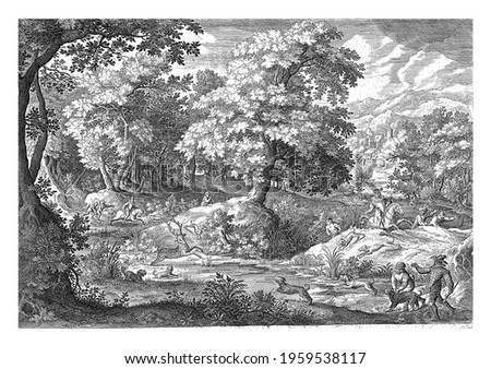 In a wooded swamp, a number of men hunt a deer that is startled in a pond by hunting dogs. Stockfoto ©