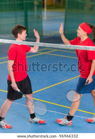 In badminton doubles girls earned the point.