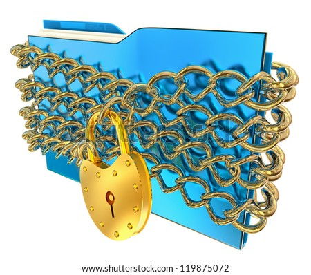 in blue folder with golden hinged lock and chains, stores important information