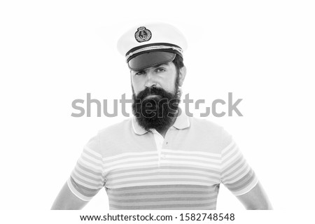 In calm sea every man is pilot. Sailor man isolated on white. Bearded man in striped blue. Naval man with beard wear peaked cap. Professional mariner. Navy and marine. Sea travel. #1582748548