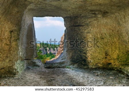 In cave. Element of design.