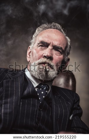 In chair sitting characteristic senior business man. Smoking cigar. Gray hair and beard wearing blue striped suit and tie. Against brown wall.