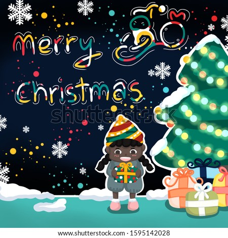 In Christmas day have girl stand under Christmas and around her have  gifts.If you don't know how to tell about merry Christmas to family or other people this picture is interesting choice for you
