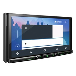 In-Dash Receiver with USB Aux Ports Isolated on White. Multimedia DVD CD Receiver with 7 inch Touchscreen Flip-Down Monitor Display. Car Audio System with GPS. Car Electronics. GPSCar Audiocar Stereo