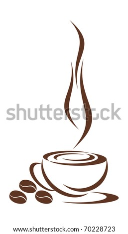 In drawing the cup from coffee is represented. Three grains nearby lie. It is all on a white background .EPS version is available as ID 68509153.