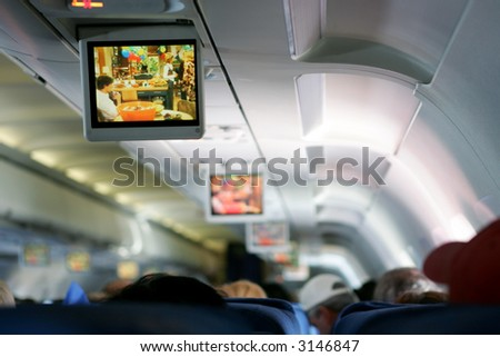 In-flight entertainment on airplane
