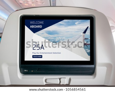 In-Flight Entertainment Screen, Seatback Screen in Airplane