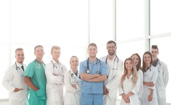 in full growth. group of medical professionals standing together
