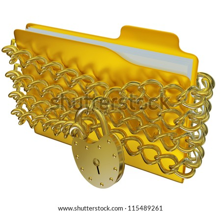 in golden folder with silver hinged lock and chains, stores important information