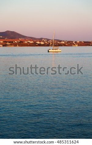 in greece near the coastline boat and yacht and sunrise light #485311624