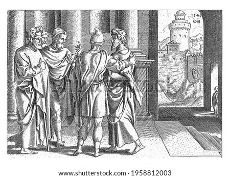 In Jerusalem Barnabas takes Paul to the apostles. The open door shows how Paul can flee Damascus with the help of a basket Stockfoto ©
