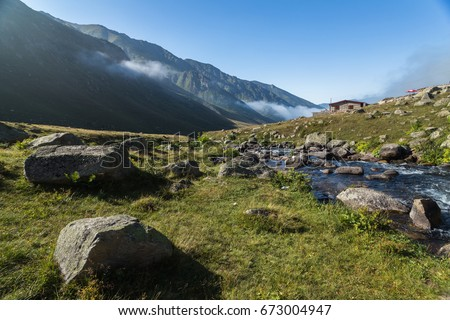 In Karadeniz region of Turkey country, View of Kavrun plateau or tableland which is a village in the Kackar Mountains. Kackar Mountains or simply Kackars are a mountain in Camlihemsin, Rize, Turkey. #673004947