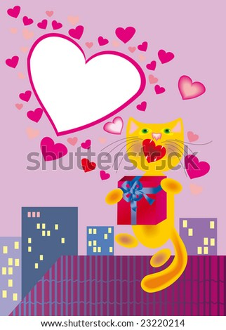 In love cat with present