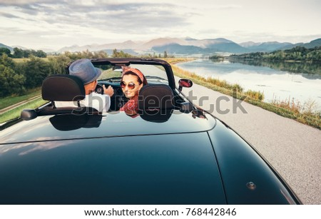 In love couple traveling by cabriolet car #768442846