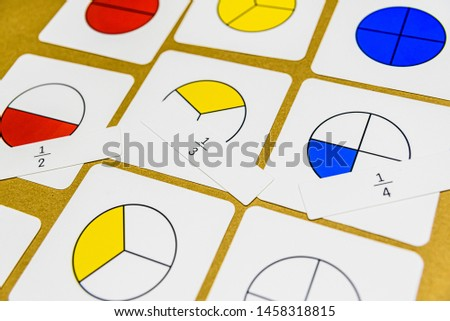 In montessori pedagogy, mathematics in various ways can be taught in the classroom, fractions with illustrative letters. Also for home schooling. #1458318815
