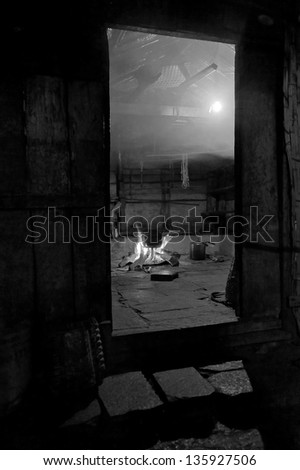In nepal the kitchen cooked dinner - Himalayas (black and white)