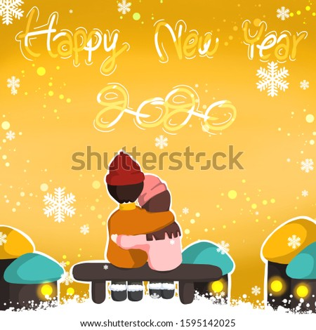 In new year day have girl and boy sit bench around both have small village  . If you don't know how to tell about happy new year to family or other people this picture is interesting choice for you