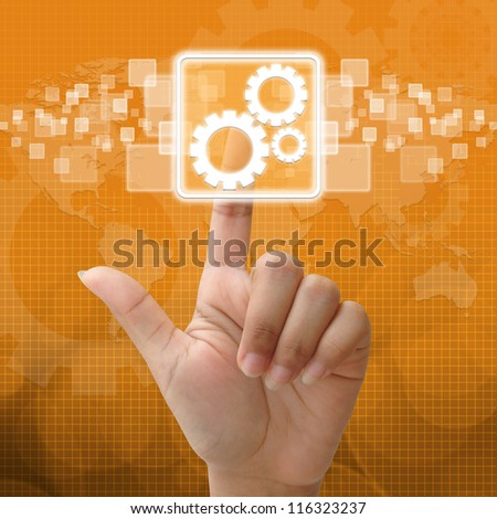 In press team work symbol for business concept