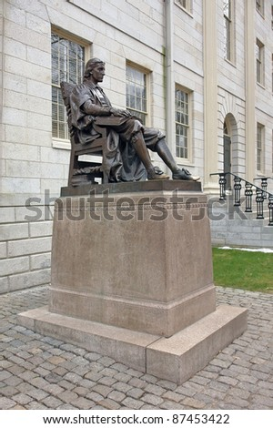 "In 1884 Samuel J. Bridge presented the University with a bronze statue of John Harvard as conceived by Daniel Chester French. The statue is nicknamed ""The Statue of Three Lies."""