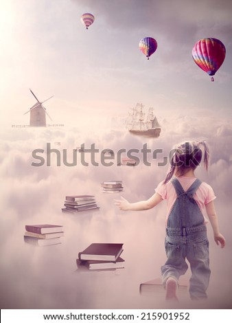In search for knowledge concept. Fantasy world imaginary view. Little girl walking down the book pass above clouds with windmill old ship in horizon. Life success of an educated person, human