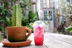 In selective focus a bottle of sweet iced red cocktail on old wooden table in outdoor space with a cactus pot and green garden background
