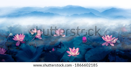 In summer morning, lotus, pond and distant mountain clouds and fog. Large and wide ink landscape painting in Chinese painting  and 3D illustration style.