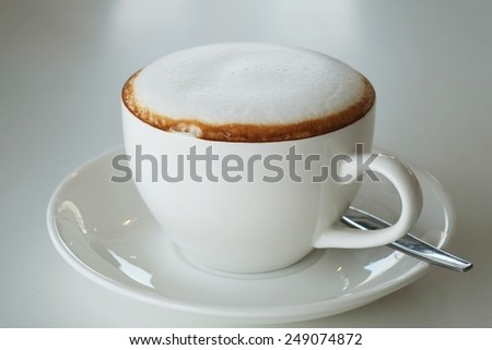 In the afternoon, cappuccino , hot milk soft relaxing.