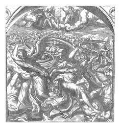 In the air, God watches the sixth angel blow his trumpet. Four death angels strike mankind with swords on earth