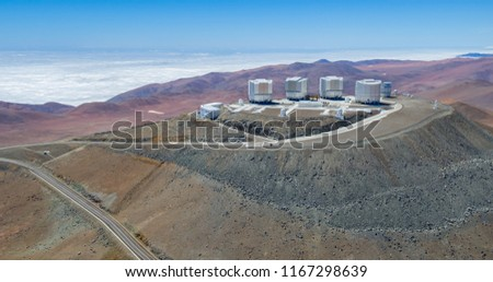In the Atacama Desert of Chile, Aerial view of the Observatory over the Paranal hill #1167298639