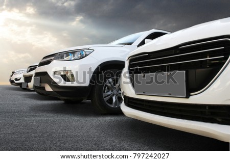 In the automobile industry, the cars are lined up neatly in the square. #797242027