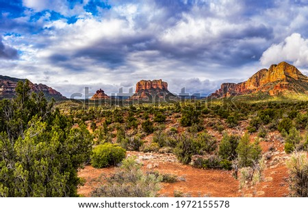 In the canyon valley landscape. Canyon desert panorama. Canyon National Park. Desert in canyoning