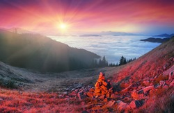 In the Carpathians, golden autumn cold often turns into snow then again come warm sunny days. Against the background of high mountain ranges and beautiful beech forests scenic