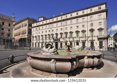 In the city center of Rome and found the place where Colonna is also the seat of the Presidency of the Government of the Republic in the middle of the Via del Corso. Rome (Italy)