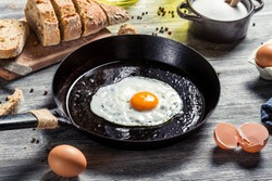 In the course of making breakfast with fresh eggs