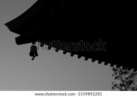 In the early spring evening, when the bells of a small temple in the suburb ring, the traditional roof tiles receive the light that the twilight of yellow twilight shines through, drawing a black silh
