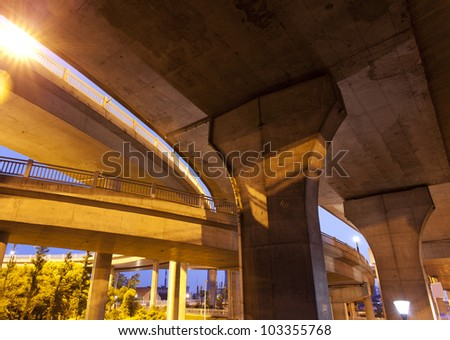 In the evening, Highway Viaduct