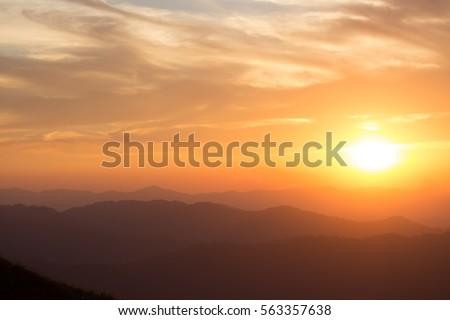 In the evening sky and sun light orange. #563357638