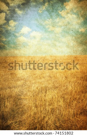 in the fields, old grungy illustration