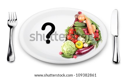 In the first half of the plate vegetables. On the other half of the plate - a question mark.