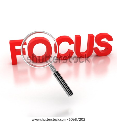 in the focus icon - focus 3d letters under the magnifier - stock photo