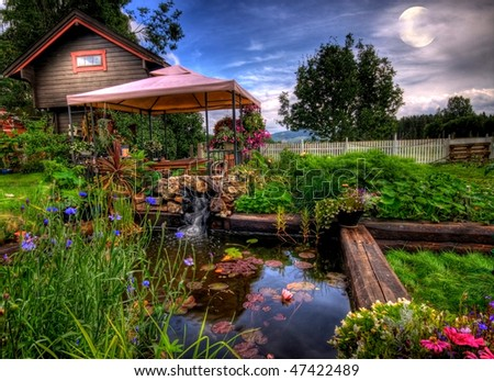 In the garden at night, Eidsvoll, Norway